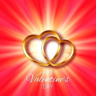 スターバーストにゴールドのハートのデザインが施されたバレンタインデーのグリーティングカード
