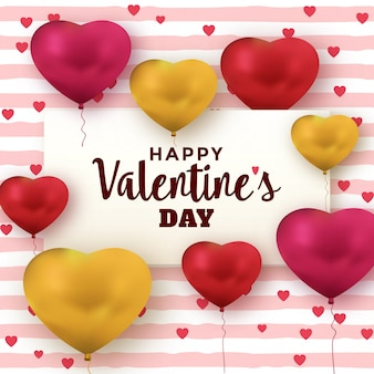 Valentines day greeting card with heart balloons