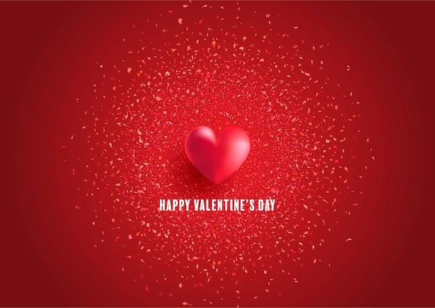 Cartolina d'auguri di san valentino con cuore e coriandoli