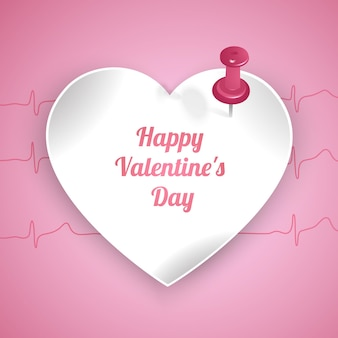 Valentines day greeting card with heart shaped frame and pink background