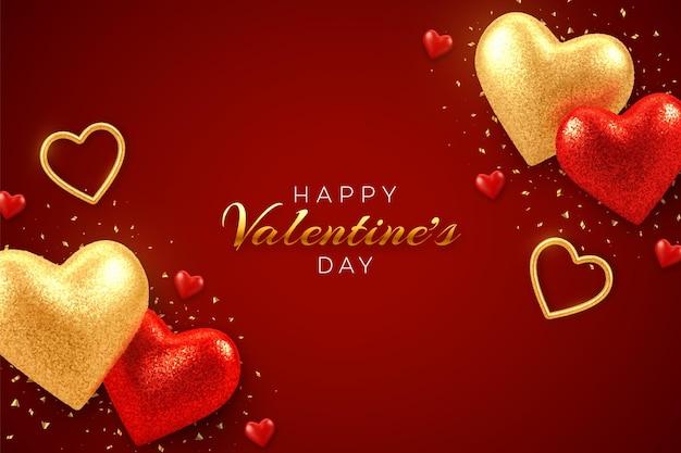 Открытка на день святого валентина с сияющими реалистичными красными и золотыми сердечками из 3d воздушных шаров