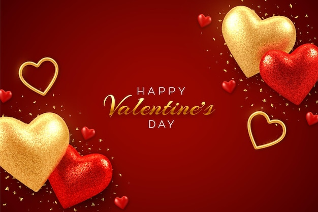 Valentines day greeting card with shining realistic red and gold 3d balloons hearts