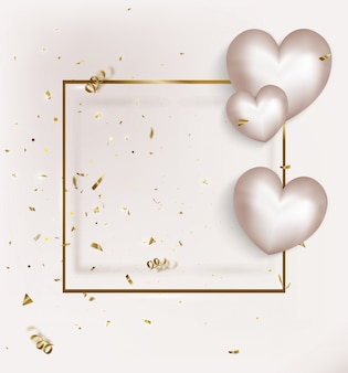 Valentines day greeting card with white ballons on gold frame