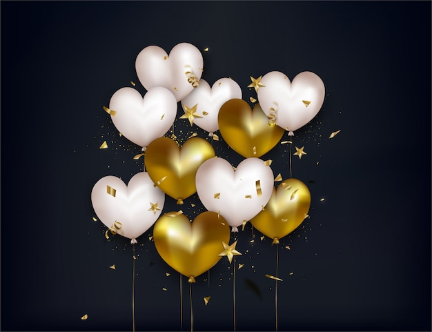 Valentines day greeting card with white and gold balloons, confetti, 3d stars on black background.