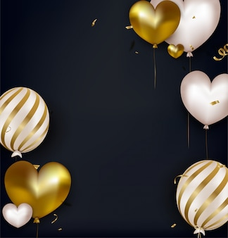 Valentines day greeting card with white and gold balloons and confetti
