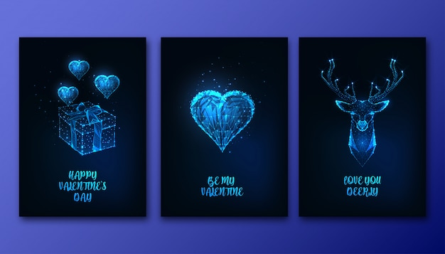 Valentines day greeting cards set with futuristic glowing low polygonal heart, gift box, deer head