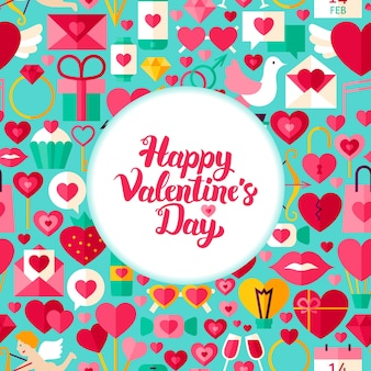 Valentines day greeting. flat style vector illustration love holiday poster.