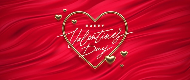 Valentines day greeting. heart shaped golden frame on a red fluid waves background. love symbol.