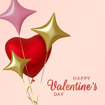 Приветствие дня святого валентина, реалистичные розовые шары сердца и золотые звезды на розовом фоне