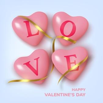 Приветствие дня святого валентина, реалистичные розовые сердечки в мишуре и тексте