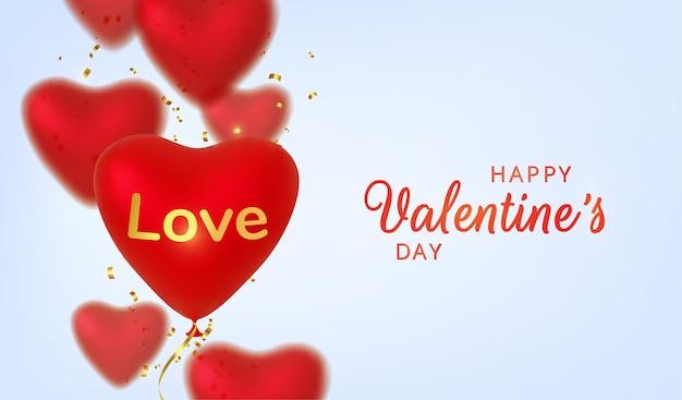 Приветствие дня святого валентина, реалистичные красные шары сердца на розовом фоне