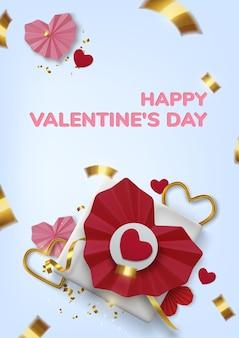 Приветствие дня святого валентина, реалистичные красные бумажные сердца и подарок на синем фоне
