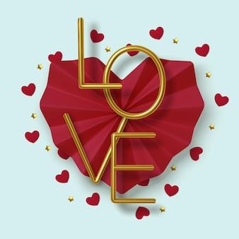 バレンタインデーの挨拶、現実的な赤い紙のハートと青い背景の上の金のテキスト