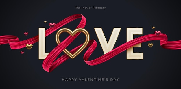 バレンタインデーの挨拶。リアルな金色のハートと赤いブラシストロークリボンが付いたwordlove。