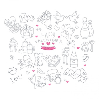 Valentines day handdrawn symbols collection
