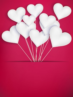 Valentines day heart balloons on red background.