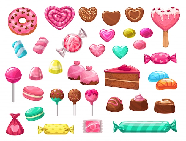 Valentines day heart candies, sweets and cakes