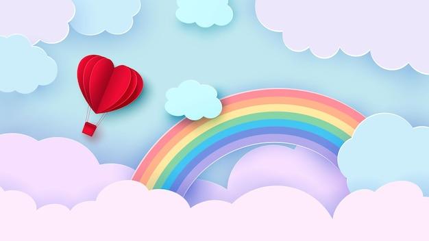 バレンタインデーのハート型の風船が雲の中を飛んでいます。