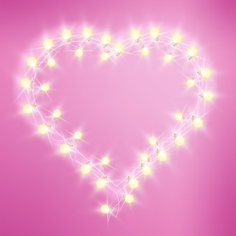 Valentines day heart-shaped love lights pink background with bulbs, garland.