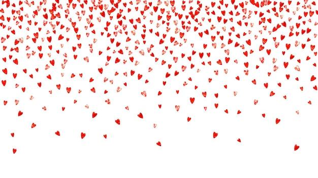 赤いキラキラとバレンタインデーのハートが輝きます。 2月14日。バレンタインデーのハートのテンプレートのベクトル紙吹雪。グランジ手描きのテクスチャ。チラシ、特別ビジネスオファー、プロモーションの愛のテーマ。