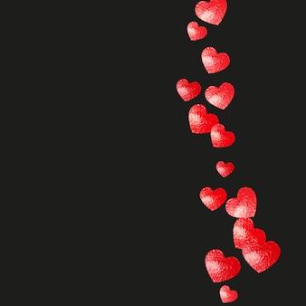 赤いキラキラとバレンタインデーのハートが輝きます。 2月14日。バレンタインデーのハートのテンプレートのベクトル紙吹雪。グランジ手描きのテクスチャ。特別なビジネスオファー、バナー、チラシの愛のテーマ。