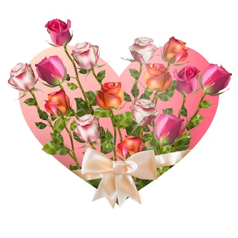 Сердце дня святого валентина с розами на белой предпосылке. файл включен