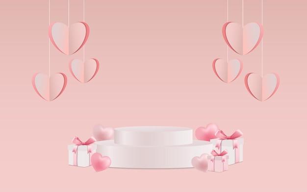 バレンタインデーのハートとプロダクトプレースメント付きのギフトボックス