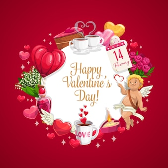 Valentines day hearts, cupid and flowers greeting card of love holiday