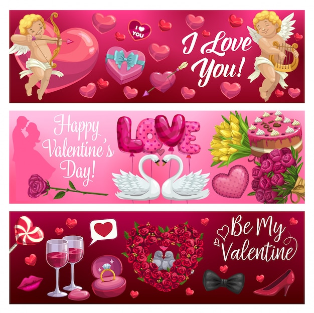 Valentines day hearts, cupids, flowers and gifts