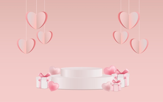 Valentines day hearts and gift boxes with product placement
