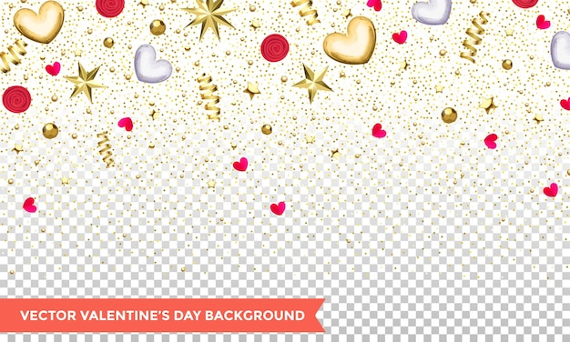 Valentines day of hearts and gold glitter confetti or flowers on transparent background.