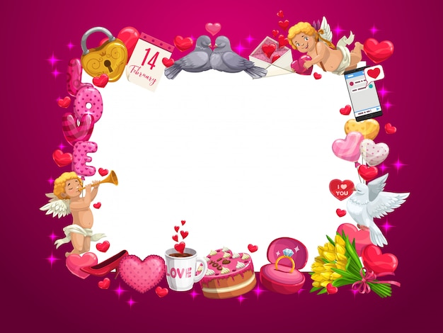 Valentines day hearts and love holiday gifts frame Premium Vector
