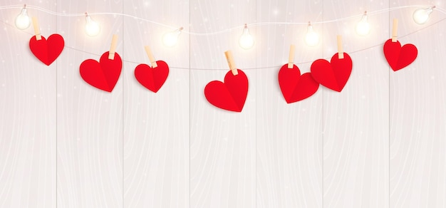 Valentines day hearts realistic composition with horizontal view of lights string with hanging hearts of paper illustration