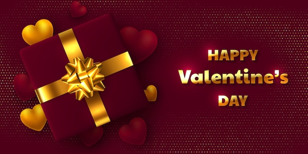Valentines day holiday design. gift box with golden bow, 3d hearts and greeting text.