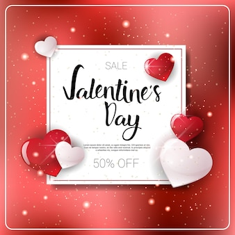 Valentines day holiday sale banner discounts and shopping concept