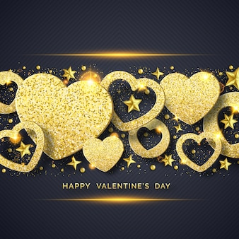 Valentines day horizontal background with shining golden heart, stars, balls and confetti