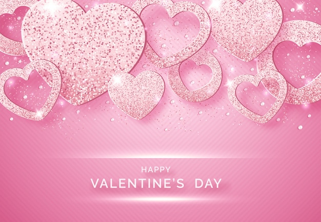 Valentines day horizontal background with shining pink hearts, balls and confetti