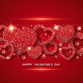 Valentines day horizontal background with shining red heart, stars, balls and confetti