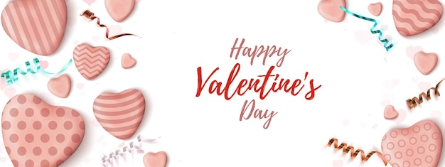 발렌타인 데이 가로 배너입니다. 현실적인 사탕 하트와 흰색 바탕에 리본 추상 미니 웹 사이트 헤더 디자인 템플릿.