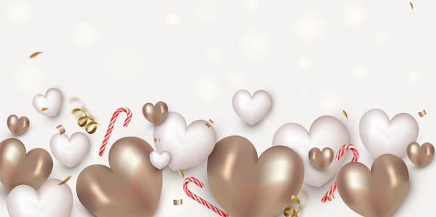 Valentines day horizontal banner with cute white and gold air hearts, lollipops, decorations.