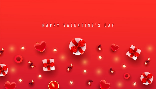 Valentines day horizontal  with border made of gift boxex, love shape and decor pattern on red  with congradilation text. chic greeting card.