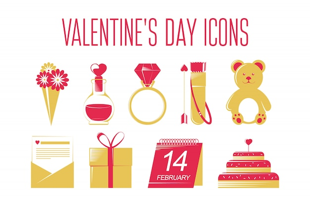 Valentines day icons set