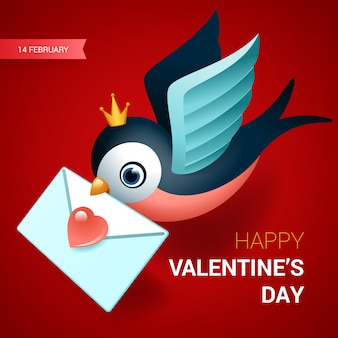 Valentines day illustration. bird with love letter.
