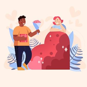 愛のカップルのバレンタインデーのイラスト