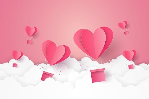 バレンタインデー愛のイラスト空を飛んでいるハート型の熱気球