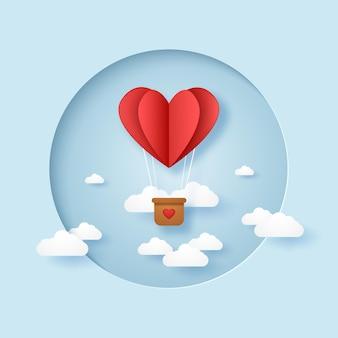 バレンタインデーフレームで空を飛んでいる愛の赤い折りたたまれたハートの熱気球のイラスト