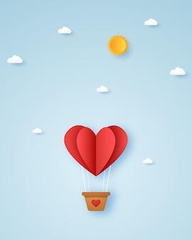 バレンタインデー、愛のイラスト、空を飛んでいる赤いハートの熱気球、紙のアートスタイル