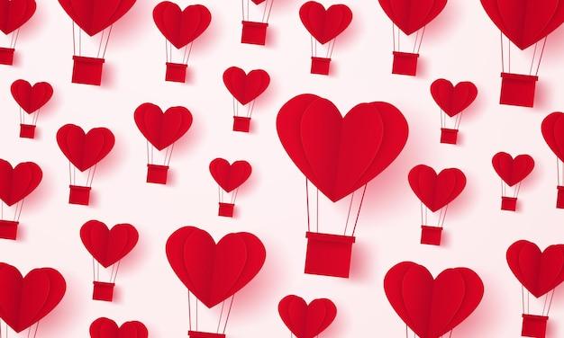 バレンタインデー、愛のイラスト、赤いハートの熱気球の背景、紙のアートスタイル