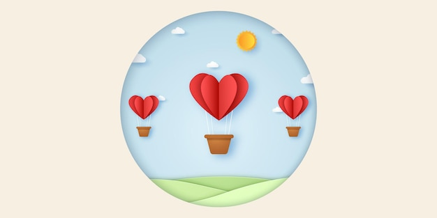 青い空を飛んでいる愛の赤いハートの熱気球のバレンタインデーのイラスト