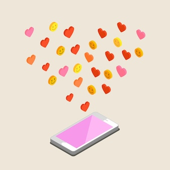День святого валентина иллюстрации. получение или отправка любовных писем и смс на день святого валентина, отношения на расстоянии. плоский дизайн, векторные иллюстрации